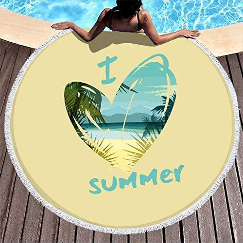Wraill Toalla de playa redonda con diseño de corazón y texto en inglés, de secado rápido, ultra suave, con borlas, 150 cm, color blanco