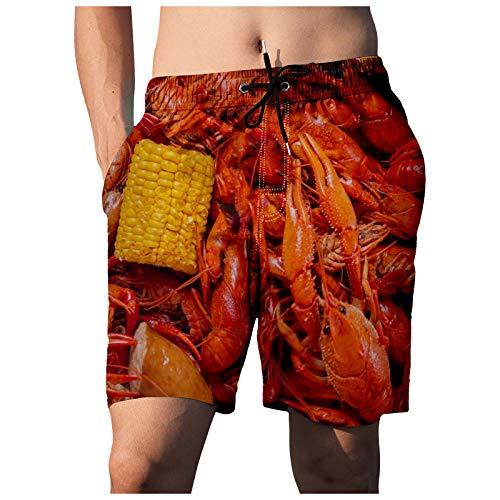 OVERMAL Herren 3D Drucken Strandhose Food Realistische Gedruckte Kurze Hose Sommershorts Beach Shorts Beach Swim Shorts Schnell Trocknend Sporthose Badehose Schnell Trocknend Schwimmhose