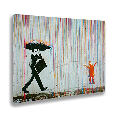 Giallobus - Quadro - Stampa su Tela Canvas - Banksy - Pioggia Colori - 100 X 140 Cm