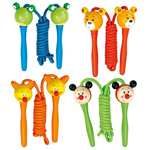 Bino 82767 Springseil Tiere Holz für Kinder ca. 200 cm lang
