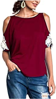 Suncolor8 Women Off Shoulder Short Sleeve Lace Stitching T-Shirt Top Blouse T-Shirt