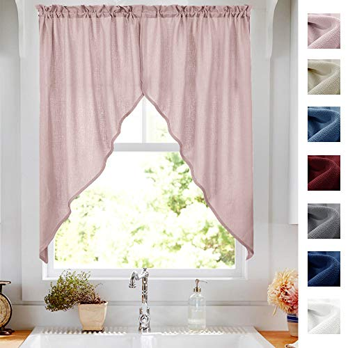 Swag Valance Semi Sheer Short Curtains Kitchen Casual Weave Cafe Curtains Half Window Treatments 2 Panels 63' L Pink