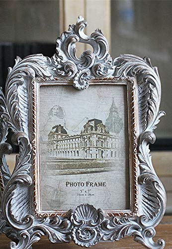 xingguang Photo frame European Antique Silver Carved Photo Frame Cosmetic Case Candlestick Standing Home Wedding Decoration Gift for Friend Desktop (Color : 7inch)