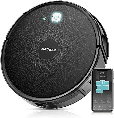 Robot Aspirapolvere, APOSEN 2100Pa Aspirapolvere Robot WiFi Controllo /App /Alexa /Google Assistant, con Sistema di Filtraggio, Navigazione Intelligente