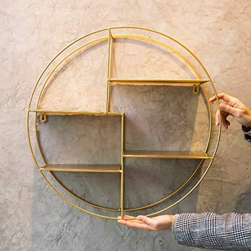 Lil Einfache Kreative Retro Wandregal Milch Tee Shop Restaurant Wand Schmiedeeisen Dekorative Rahmen Rack Regal (Farbe : Gold)