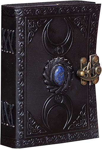 Leather Journal Handmade Black Third Eye Stone Celtic Triple Moon Embossed Vintage Daily Notepad Unlined Paper 7 x 5 Inches, Sketchbook & Writing Notebook