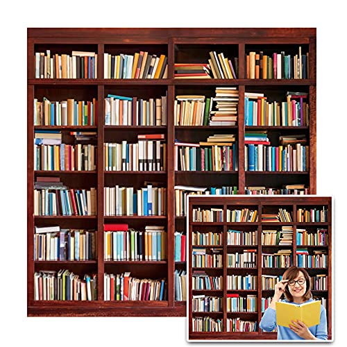 CSFOTO 5x5ft Libary Bookshelf Backdrop Study Room Books Bookstore Online Teaching Background for Photography Interior Decoration Zoom Meeting Background