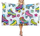 Toalla de Playa Zapatos de Skate Serie de Deportes de Monopatín de Dinosaurio, Patrón de Dibujos Animados para Niños Microfibra Toalla de Baño Surf Natación Viajes (Color 1, 70 * 150 cm)