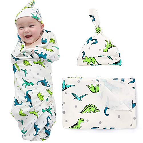 100% Cotton Knitted Baby Swaddle Blanket with Hat Set, 35x35, Newborn Swaddle Wrap, Receiving Blankets, Burping Cloth & Stroller Cover, Perfect for Boys Girls(Dinosaur)