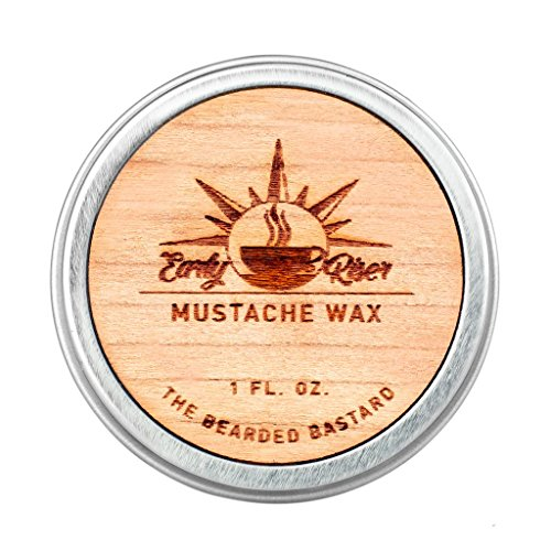 Early Riser Mustache Wax | A Strong All Day Hold | Mens Mustache Grooming, Hydrating, Beeswax, Lanolin and Jojoba Essential Oil, Facial Hair Care Products | All Natural, 1 Ounce Tin
