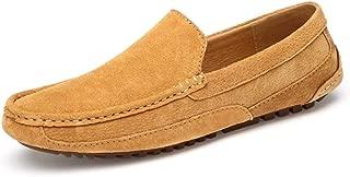 QISTAR-MAN Mocasín Zapatos for Botes Mocasín de conducción for Hombres Resbalón en Piel de Gamuza Costura Ligero Fuerte Suela Antideslizante Mocasines Llanos (Color : Amarillo, tamaño : 27.5)