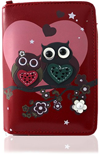 kukubird Owl Family Tree Pattern Medium Size Damen Geldbeutel-Handtasche - 37 RED