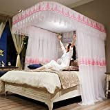 SANNA Toldo retráctil para cama de matrimonio, hilo de encriptación de carril de guía para mosquiteros, bordado, dosel en forma de U para cama doble