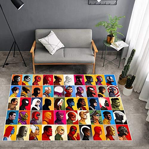 zzqiao Anime Cartoon Avengers Marvel Hero Personalidad Creativa Rectangular Alfombra Antideslizante Habitación De Los Niños Sala De Estar Mesa De Café Dormitorio Habitación Mat 140 * 200 Cm