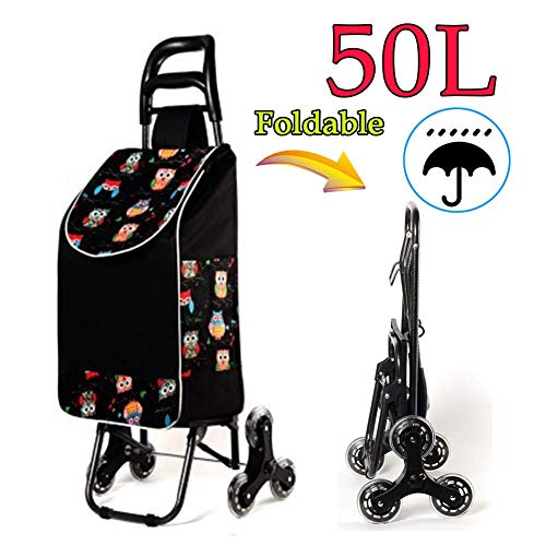 BCX 50Kg Large Capacity Shopping Trolley, Lightweight Folding Shopping Cart, Utility Stair Climbing Trolley with Waterproof Detachable Bag,Swivel Front Wheels,Climber Oversize Back Wheels,C,G