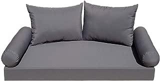 "PROLINEMAX 5 PC Crib Mattress 52"" x 28"" x 5"" Porch Patio Swing Bed Bench Daybed Cushion Set - Gray"