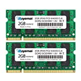 DUOMEIQI 4GB Kit(2x2GB) DDR2 800MHz PC2-6400 Unbuffered Non-ECC 1.8V CL6 2Rx8 Dual Rank 200 Pin SODIMM Portatil Memoria Principal Module Upgrade