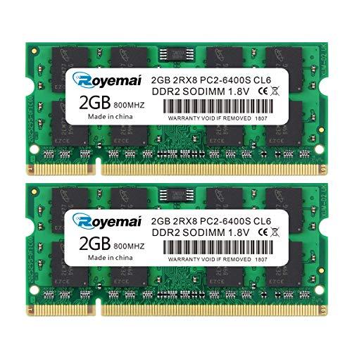 DUOMEIQI 4GB Kit (2X2GB) PC2-6400 RAM DDR2 800 DDR2 Sodimm 2RX8 1,8V CL6 Laptop Arbeitsspeicher Memory Module für Intel AMD System