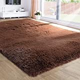 Brown Area Rug for Bedroom,4'X6',Fluffy Shag Rug for Living Room,Furry Carpet for Kids Room,Shaggy Throw Rug for Nursery Room,Fuzzy Plush Rug,Brown Carpet,Rectangle,Cute Room Decor for Baby