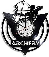 アーチェリービニール壁時計、ビニールレコード時計壁アートユニークな部屋の装飾手作りギフト