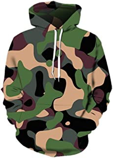 HGFHGD Green Men's Women's Camouflage 3D Hoodie Fashion Casual Pullover Fitness Jacket Sports Shirt Sportswear Clothing Si...