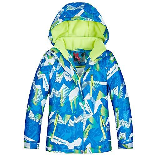 YFPICO Snowboardjacke Jungen Fleece Gefüttert,Wasserdicht Ski Jacken Jungen warme Winterjacke für den Skiurlaub, E Mehrfarbig, 122/128(Etikettengröße:14)