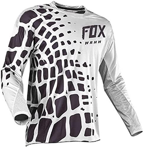 Maglia Ciclismo Maniche Lunga, Maglietta Mountain Bike Uomo Asciugatura Veloce T-Shirt Off-Road Sportswear (Bianca,S)