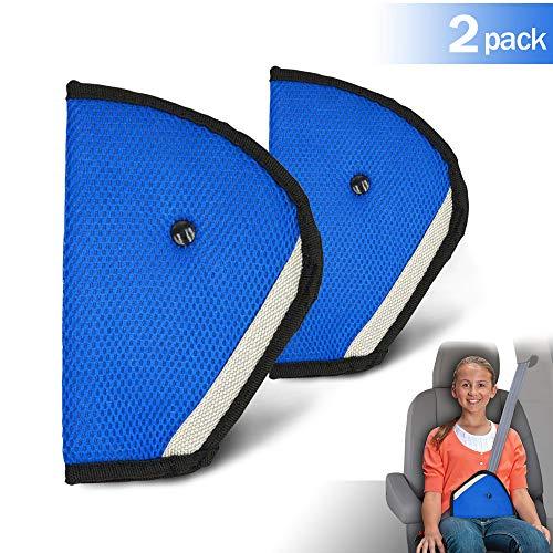TUSNAKE Kinder Seatbelt Adjuster,Clip Sicherheit Gurt Justierbarer,Baby Autositz Einstellbar Gürtel Car Teller Autositz Pad (blau 2-teilig)