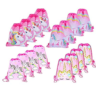 16 Piezas Bolsa de Cumpleaños de Unicornio, Mochila con Cordón para Niños, Bolsa de Fiesta de Dibujos Animados, Suministros para Fiesta de Cumpleaños de Niña para Dulces, Juguetes, Regalos