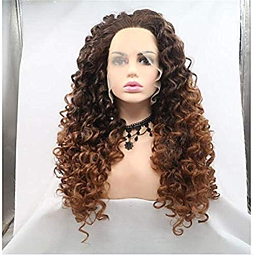 DOL Synthetic Lace wig, African Curly Dark Brown Layered Hairstyle, Density 150% Synthetic Hair Lady wig, 24 inches, Long Lace, 28 inches