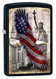 Zippo Custom Lighter: Bald Eagle and New York City - Black Matte 78717