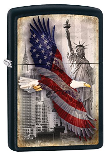 Zippo Custom Lighter: Bald Eagle and New York City - Black Matte 78717