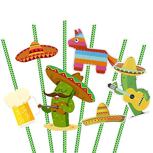 Hysagtek 36 Stück Papierstrohhalme mit 36 Stück dekorativem Karton (6 Muster) Mexikanische Trinkhalme Grün gestreifte Strohhalme Cocktail Strohhalme für mexikanische Fiesta Party/Themenparty