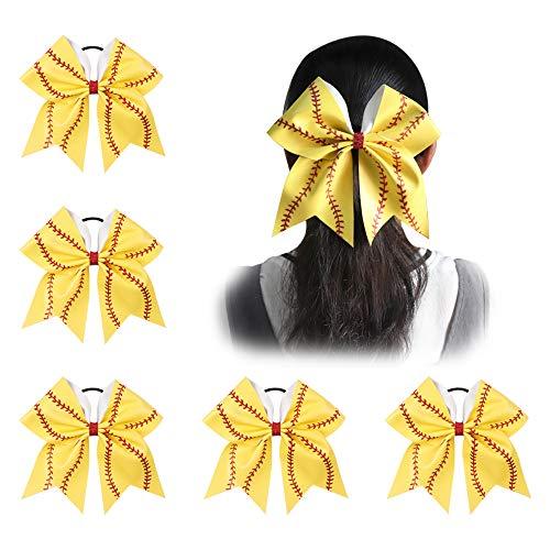 Ncmama Girls Big Yellow Leather Red Glitter Softball Cheer Bow for Dancing Cheerleader pack of 5