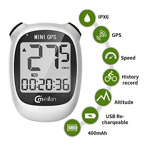 Computadora de Bicicleta GPS, Mini velocímetro y odómetro inalámbrico Impermeable con Pantalla LCD, IPX5 Impermeable y Recargable por USB para Bicicleta, Cuentakilómetros gps Bicicleta