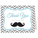 Mustache Thank You Cards Baby Shower Gray Grey Chevron Stripes Little Man Blue Hipster Boys It's A Boy Birthday Party Folding Thank You Notes (50 count)