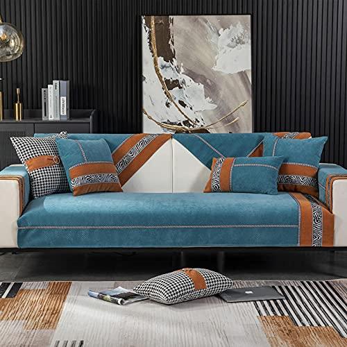 Fsogasilttlv Funda de sofá Antideslizante,Funda de cojín de Asiento de sofá con patrón de Cebra de vellón de Leche Espesada, Toalla de sofá para decoración de Sala de Estar Azul Rojo 35 * 95 Inch