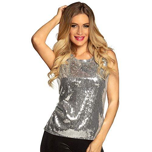 Boland 02042 - cekiny Top srebrny, błyszczący top, strój dyskotekowy, strój na imprezę, bal przebierańców, na imprezę tematyczną, karnawał