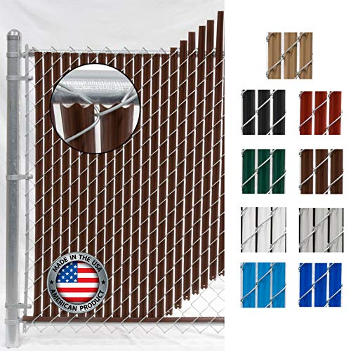 Wave Slat (9 Colors) Single Wall Bottom Locking Privacy Slat for 4', 5', 6', 7' and 8' Chain Link Fence (4 ft, Brown)