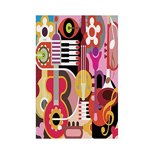 JKOVE Home Garden Music Decor Complex Graphic with Various Musical Properties Icons Keyboard Festival Piano Party Art Design Multi Deko Süße Garten Flagge