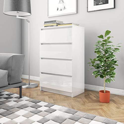 FAMIROSA Aparador de aglomerado Blanco Brillante 60x35x98,5 cm
