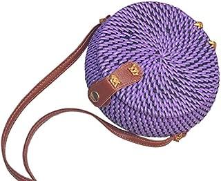 TOOGOO Woven Rattan Bag Round Straw Shoulder Bag Small Beach Handbags Women Summer Hollow Handmade Messenger Crossbody Bags Blue