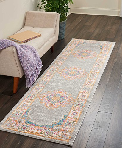 Nourison PSN03 Passion Traditional Area Rug, 2'2' x 7'6', Grey