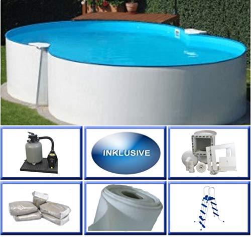 Summer Fun Stahlwandbecken Set Malta Basic achtform 3,50m x 5,40m x 1,20m Folie 0,4mm Super Komplettset Pool Achtformpool / 350 x 540 x 120 cm Stahlwandpool
