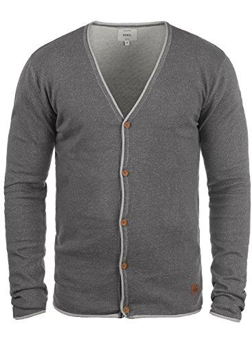 Redefined Rebel Maxen Herren Strickjacke Cardigan Feinstrick Mit V-Ausschnitt und Knopfleiste Aus 100% Baumwolle, Größe:L, Farbe:Mid Grey