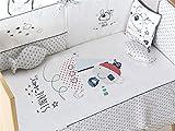 Pirulos 27713320 - Edredón, protector y cojín, diseño pirate, 72 x 142 cm, color blanco y gris