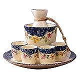 XinQing-Set Vino Sake Snowflake Serie Pot Set, in Ceramica Giapponese Insieme del Vino, con Vassoio, Scatola Confezione Regalo