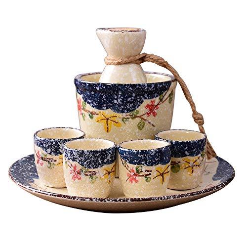 XinQing-Set de Vino Sake Serie del Copo de Nieve Pot Set, cerámica Japonesa Sistema del Vino, con Bandeja, Caja de Regalo de Embalaje