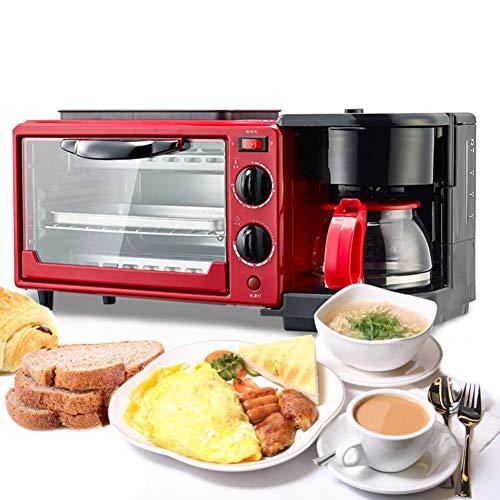 KASIQIWA Máquina de Desayuno eléctrico, 3 en 1 multifunción sartén sartén Mini Horno y Tetera para Huevo friendo Pan Tostado Hacer café en el hogar