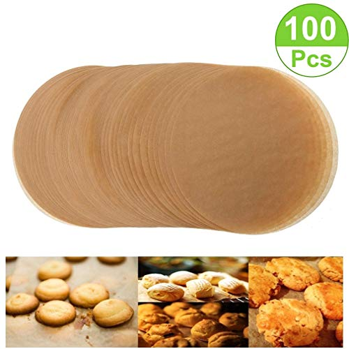 Unbleached Parchment Paper Cookie Baking Sheets,11 Inch Premium Brown Parchment Paper Liners for Round Cake Pans Circle,Non-stick Air Fryer Liners,100 Count